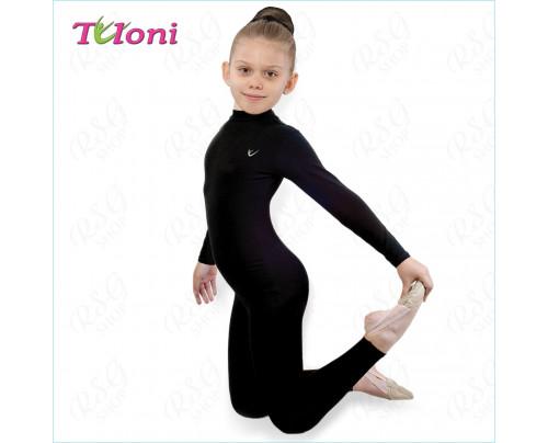 Trainingsoverall Tuloni KB02CL-B für RSG, Tanzen und Ballett Schwarz Gr. 28 bis 38
